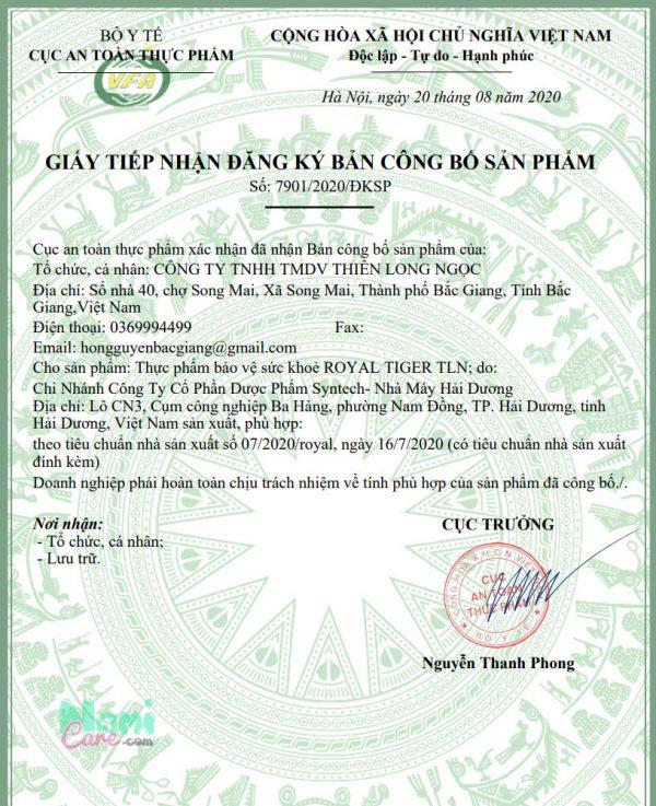 giấy công bố ATTP của Royal Tiger TLN